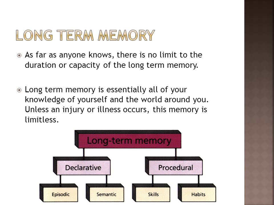 Long term memory As far as anyone knows, there is no limit to the duration or capacity of the long term memory.