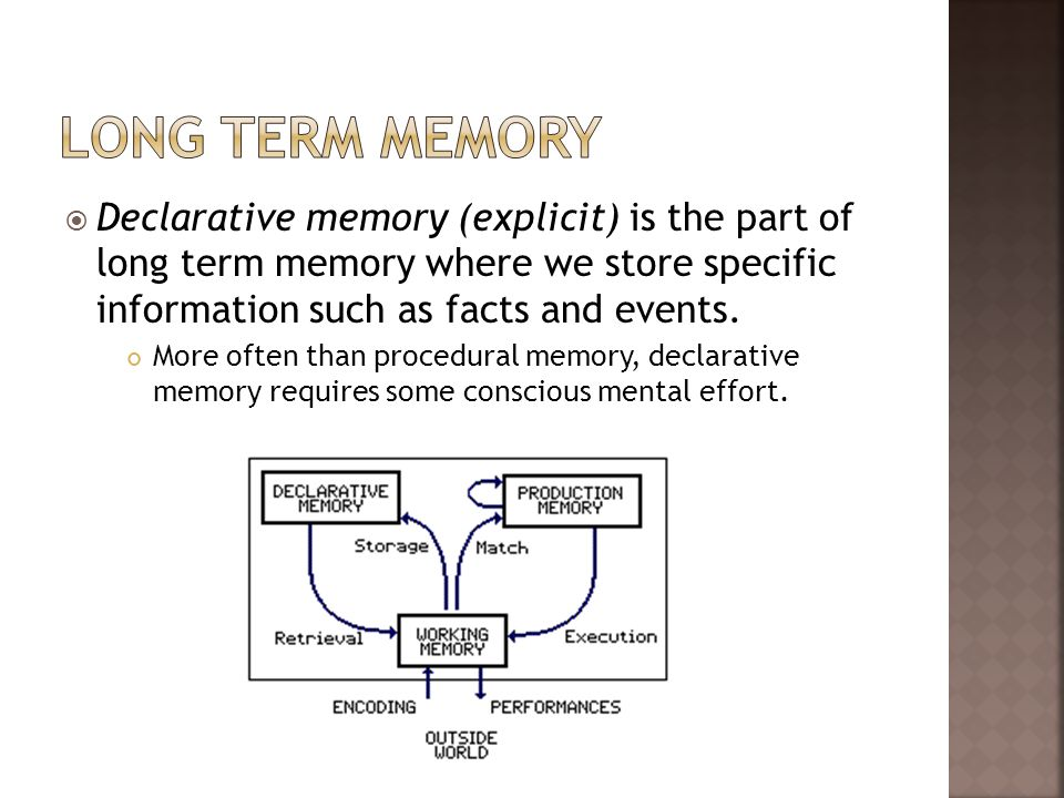 Long Term memory Declarative memory (explicit) is the part of long term memory where we store specific information such as facts and events.