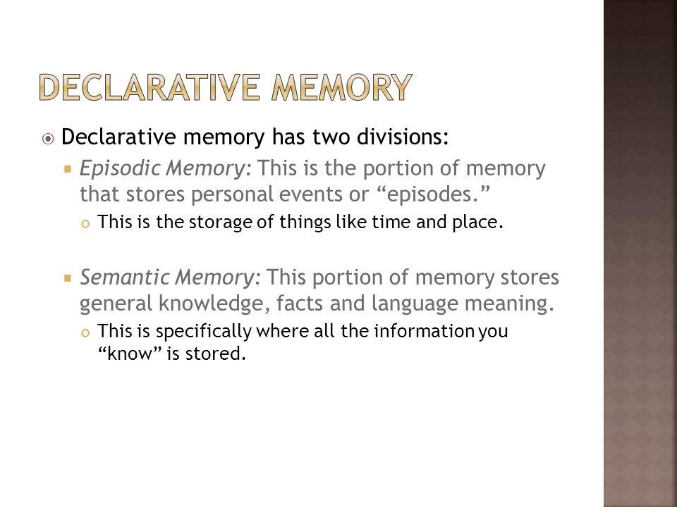Declarative Memory Declarative memory has two divisions: