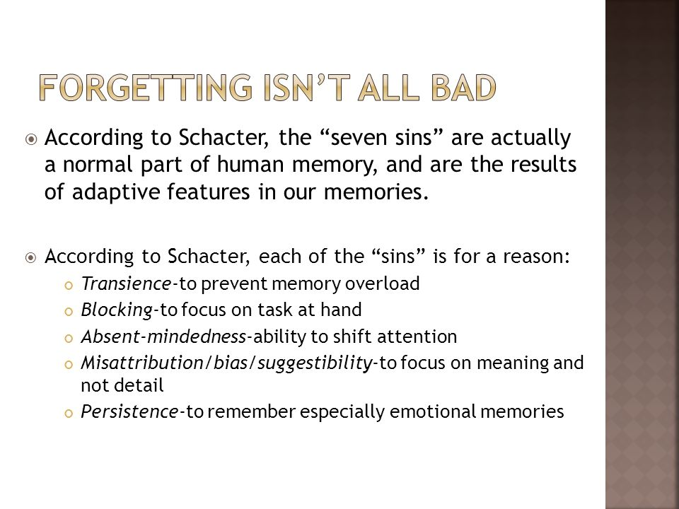 Forgetting isn't all bad