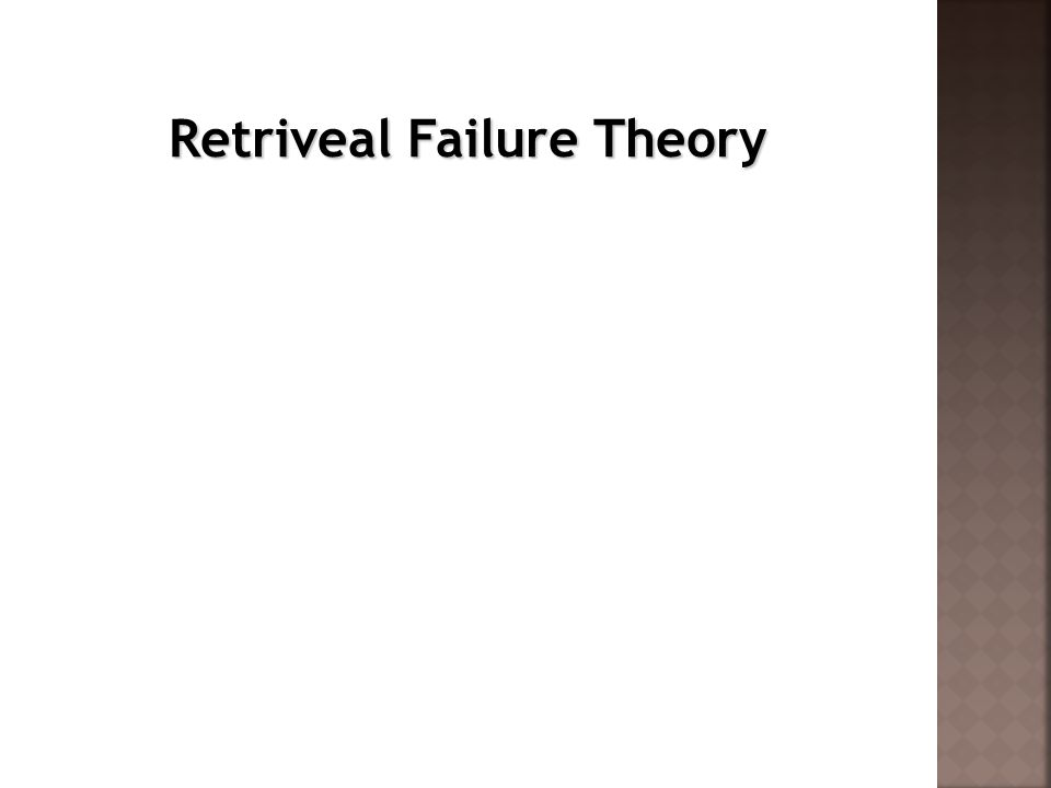 Retriveal Failure Theory