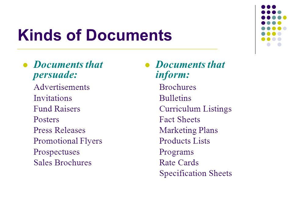 Kinds of Documents Documents that persuade: Documents that inform: