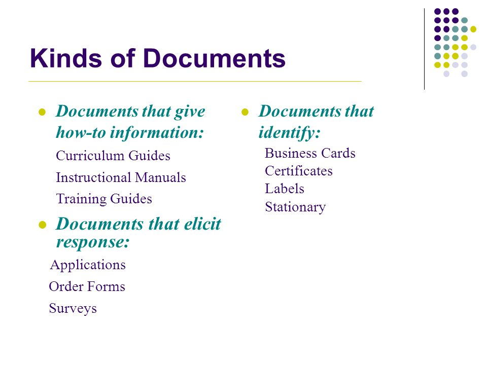 Kinds of Documents Documents that elicit response:
