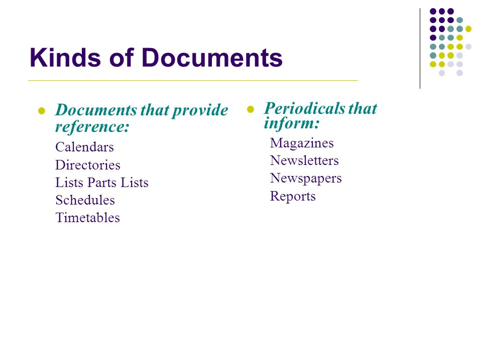Kinds of Documents Documents that provide reference: