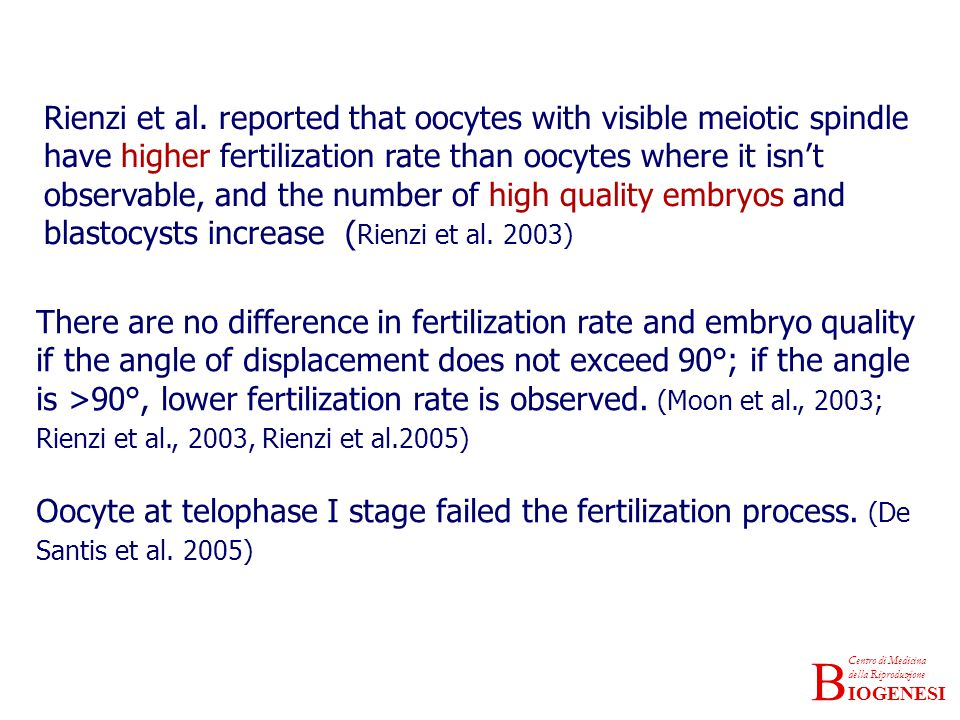 Rienzi et al. reported that oocytes with visible meiotic spindle have higher fertilization rate than oocytes where it isn't observable, and the number of high quality embryos and blastocysts increase (Rienzi et al. 2003)