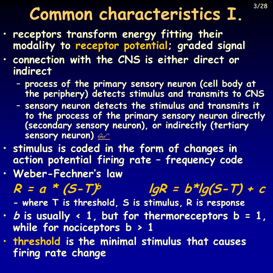 Common characteristics I.