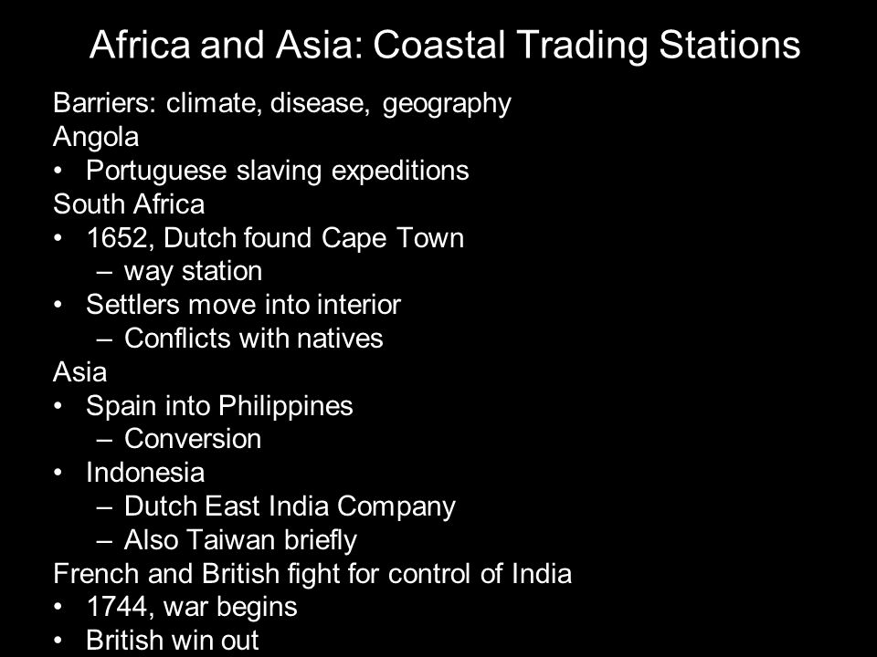 Africa and Asia: Coastal Trading Stations