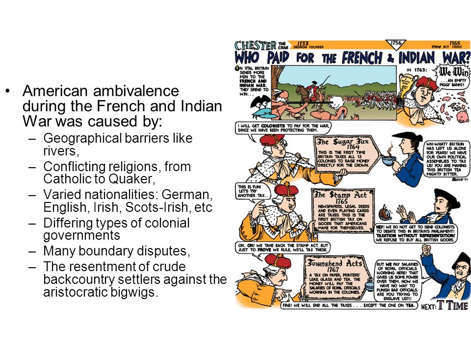 American ambivalence during the French and Indian War was caused by: