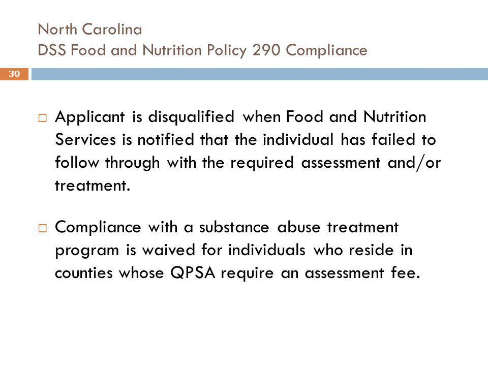 North Carolina DSS Food and Nutrition Policy 290 Compliance