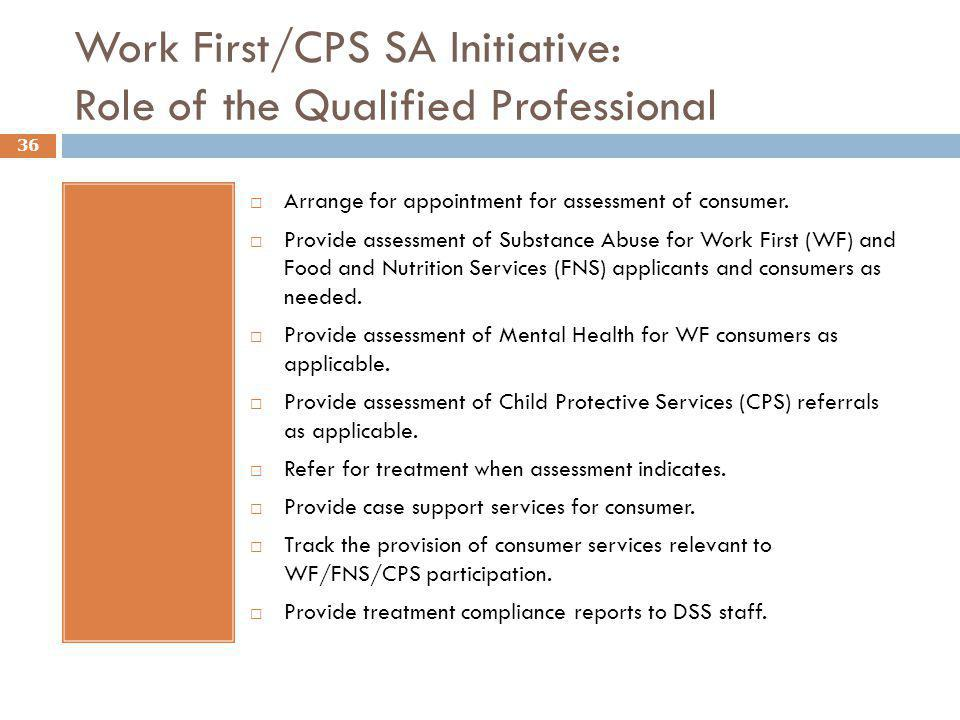 Work First/CPS SA Initiative: Role of the Qualified Professional