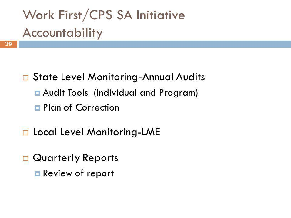 Work First/CPS SA Initiative Accountability