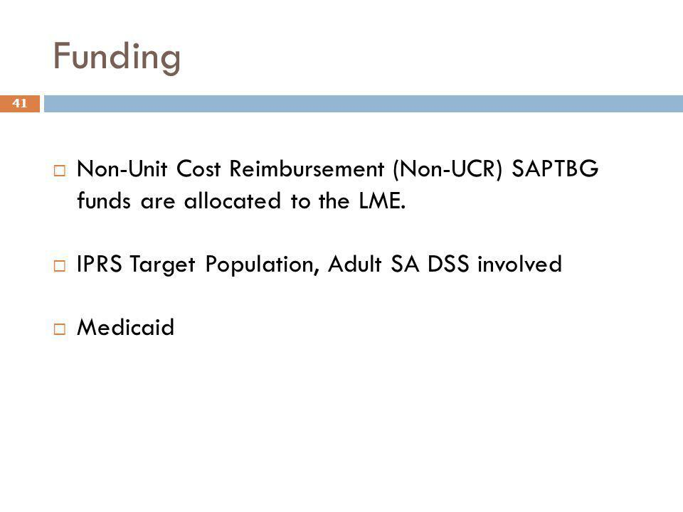 Funding Non-Unit Cost Reimbursement (Non-UCR) SAPTBG funds are allocated to the LME. IPRS Target Population, Adult SA DSS involved.