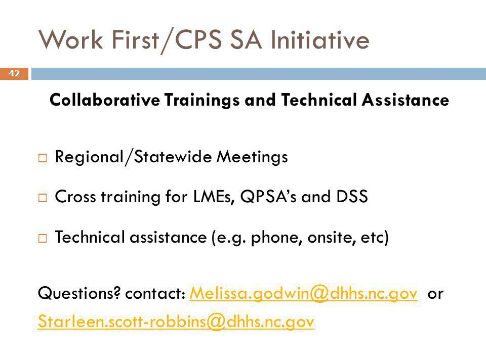 Work First/CPS SA Initiative