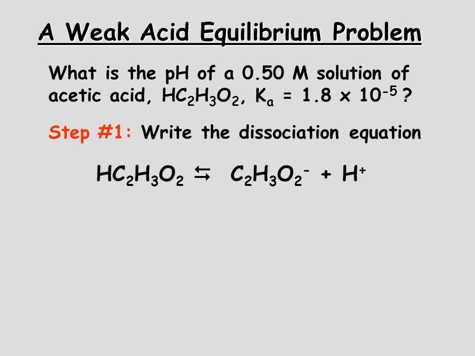 A Weak Acid Equilibrium Problem