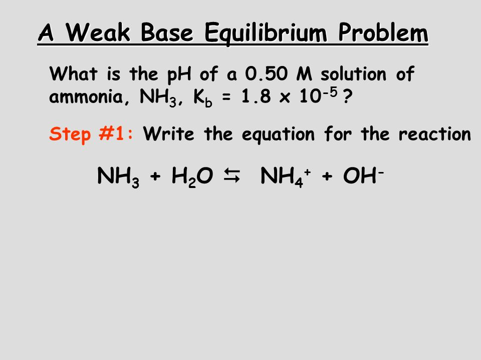 A Weak Base Equilibrium Problem