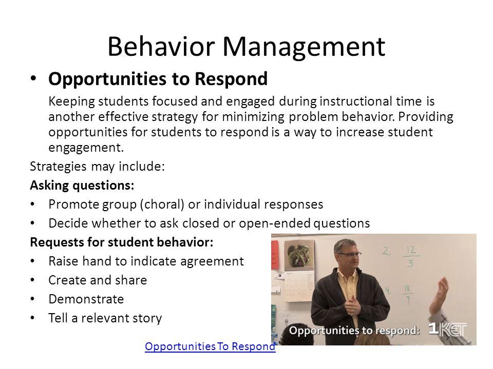 Behavior Management Opportunities to Respond