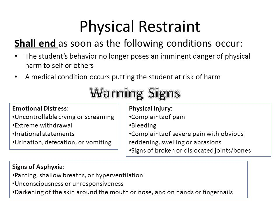 Physical Restraint Warning Signs