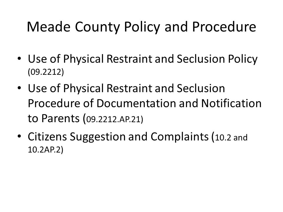 Meade County Policy and Procedure