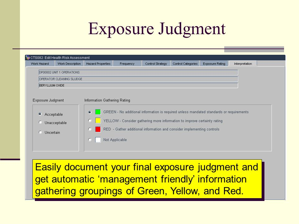 Exposure Judgment