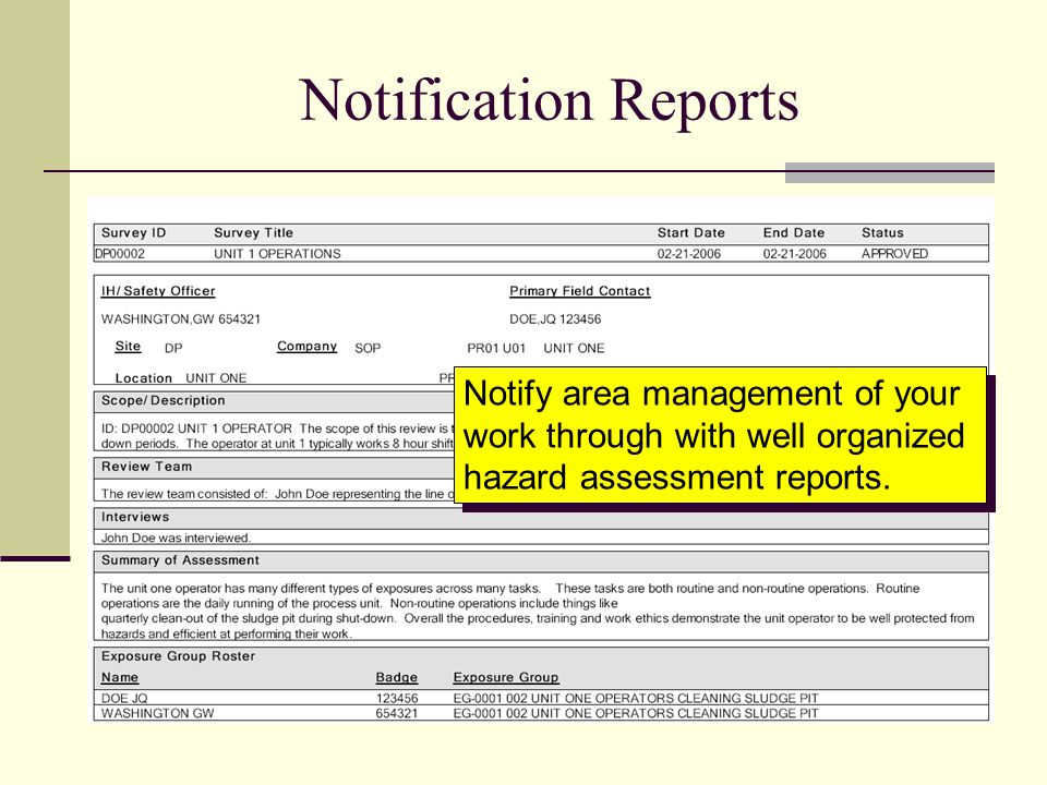 Notification Reports Notify area management of your work through with well organized hazard assessment reports.