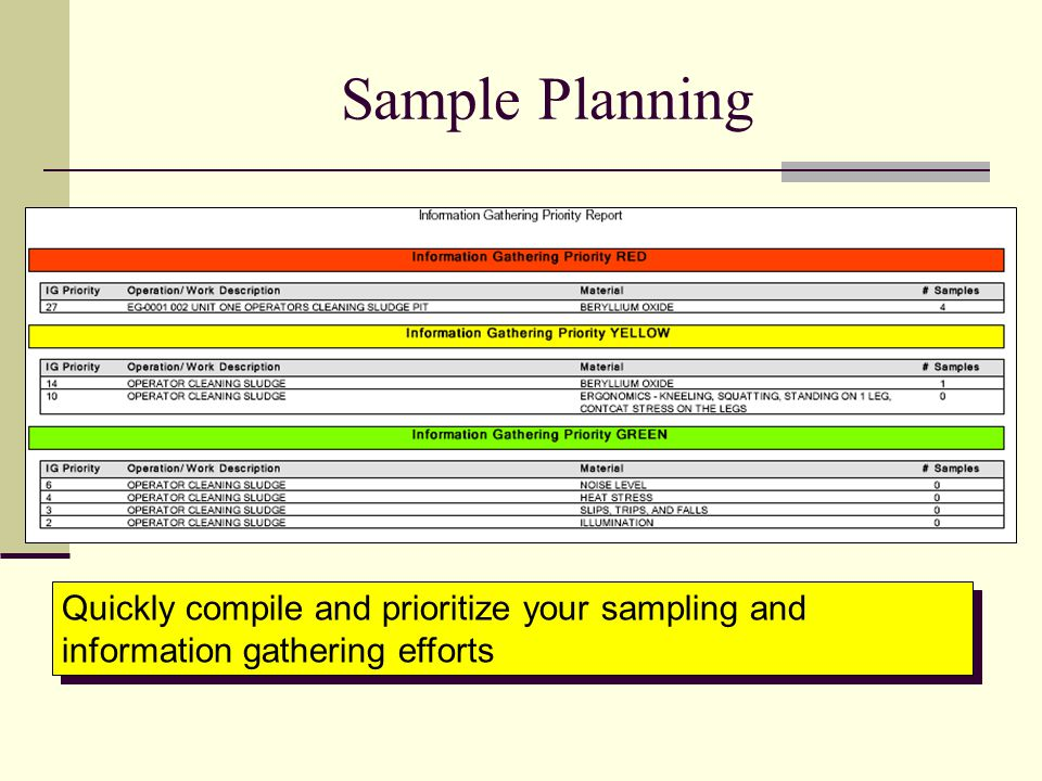 Sample Planning Quickly compile and prioritize your sampling and information gathering efforts