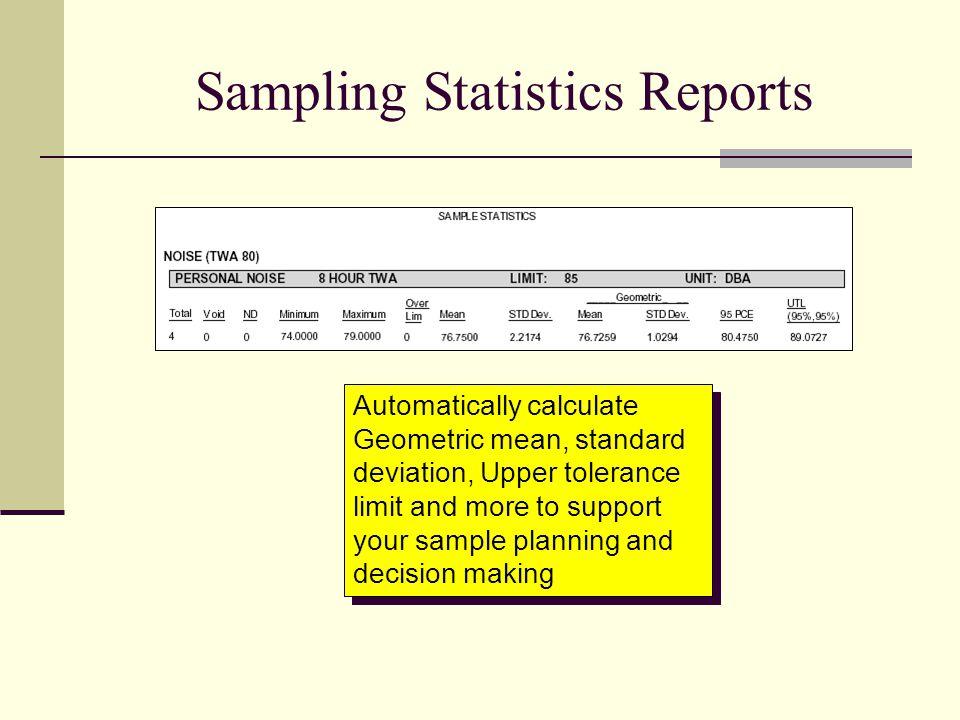 Sampling Statistics Reports