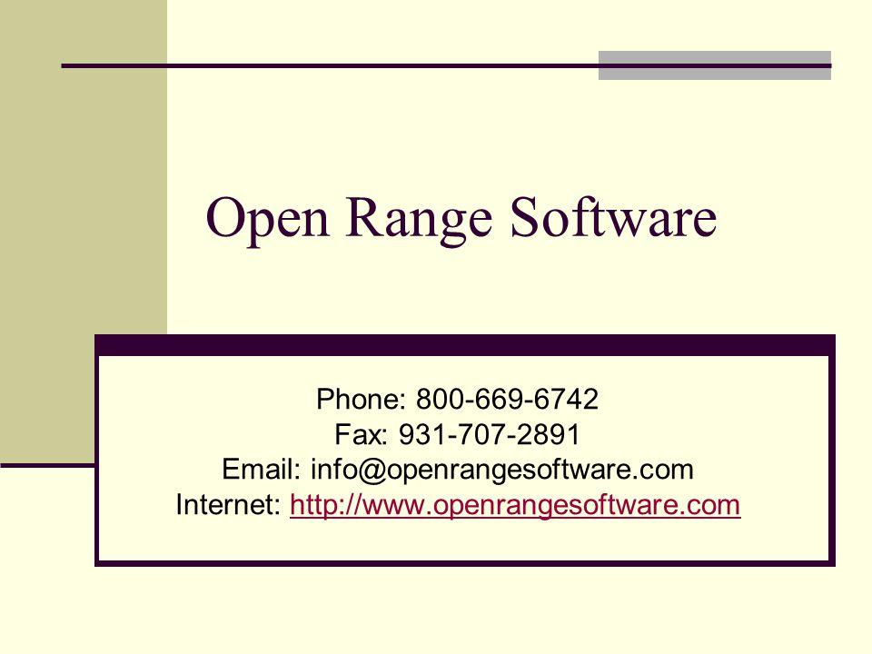 Internet: http://www.openrangesoftware.com
