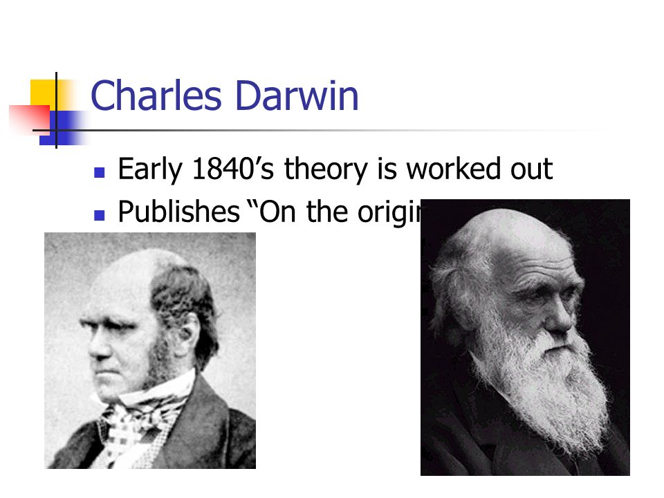 Charles Darwin Early 1840's theory is worked out