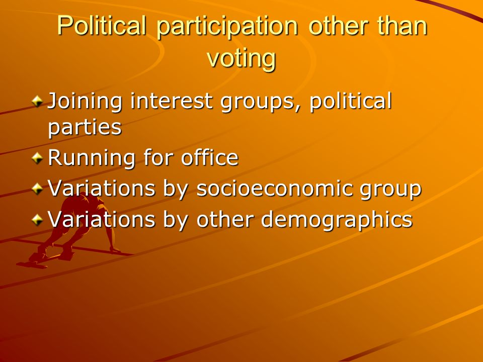 Political participation other than voting