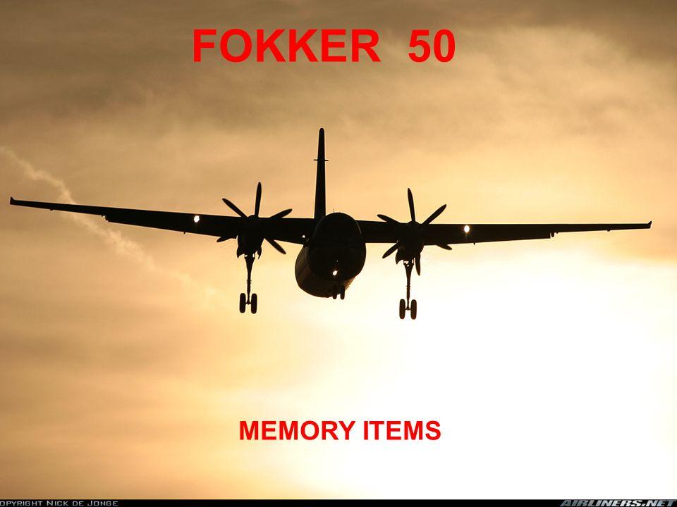 FOKKER 50 MEMORY ITEMS