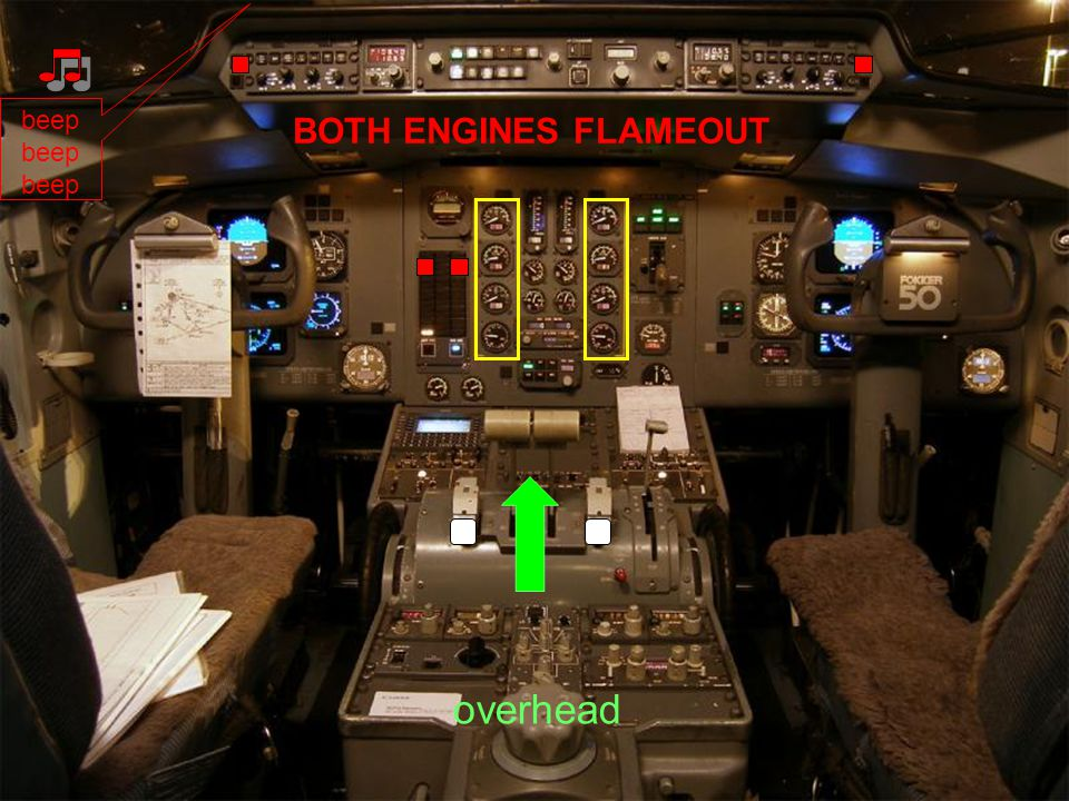 beep BOTH ENGINES FLAMEOUT overhead