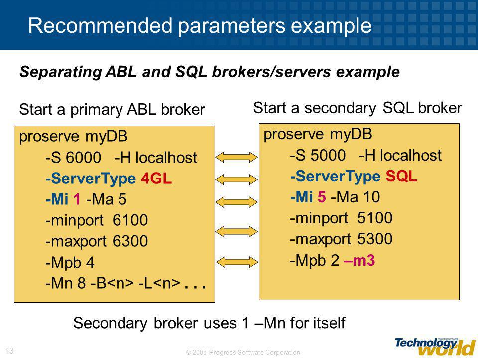 Recommended parameters example