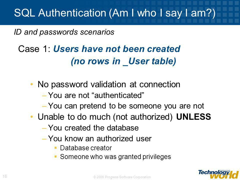 SQL Authentication (Am I who I say I am )