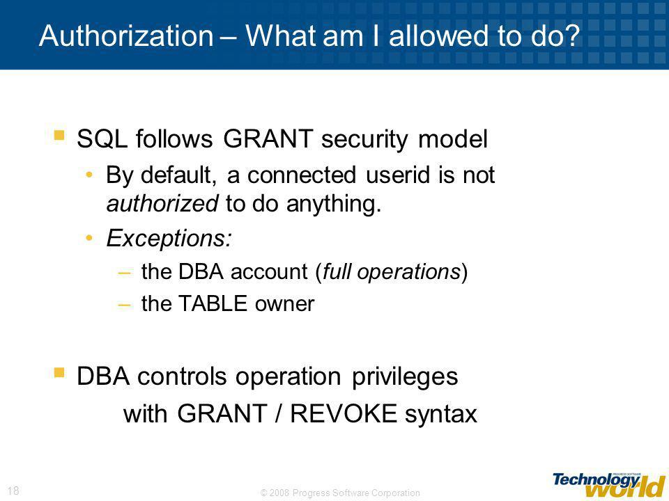 Authorization – What am I allowed to do