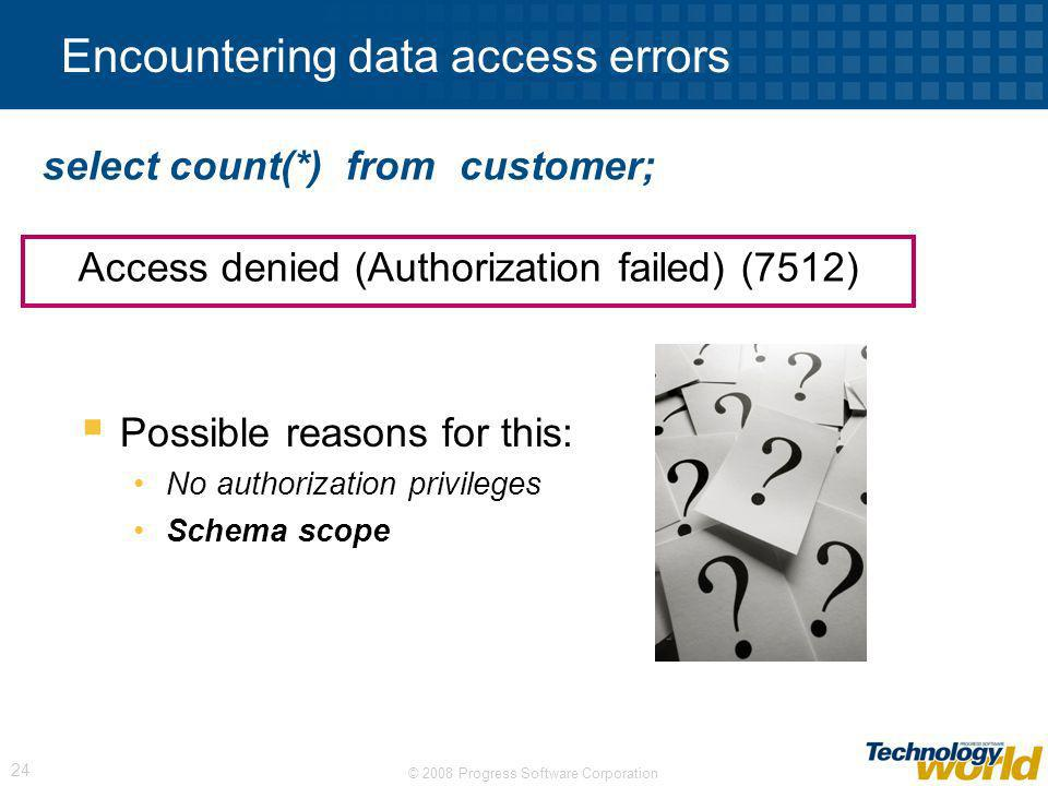 Encountering data access errors