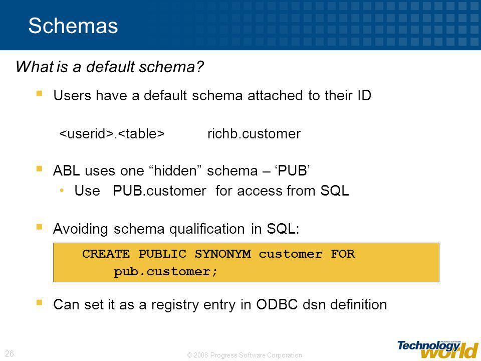 Schemas What is a default schema