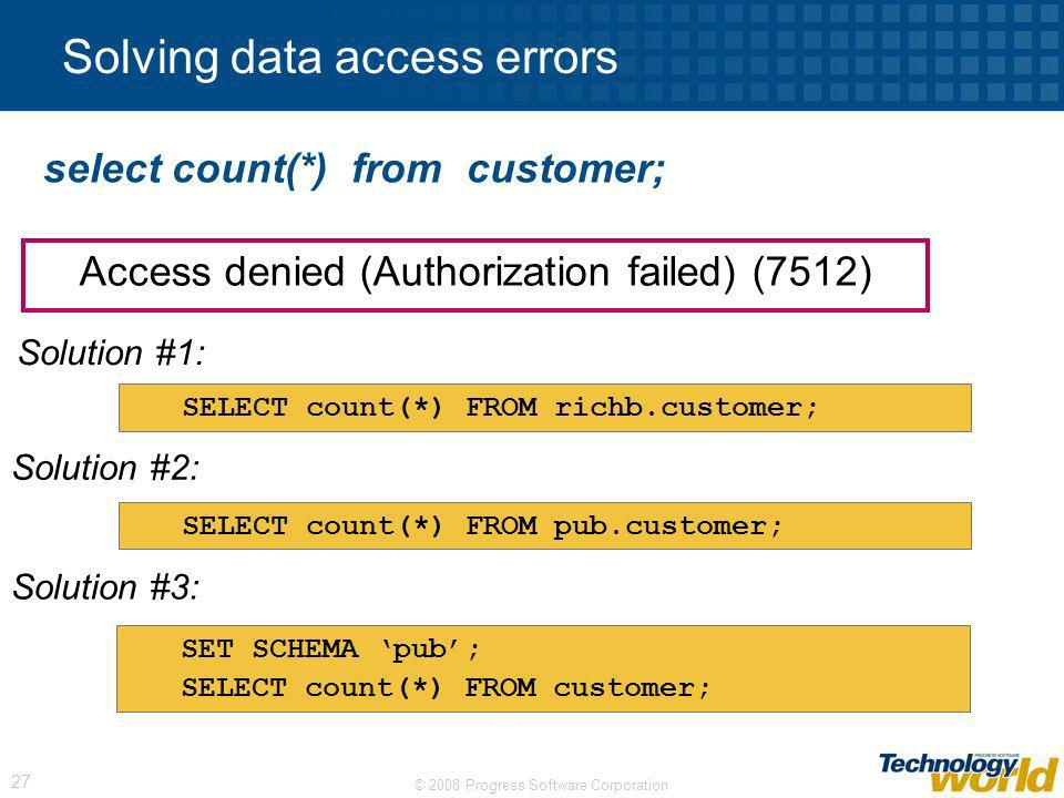 Solving data access errors