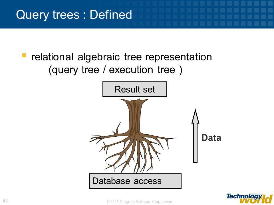 Query trees : Defined relational algebraic tree representation