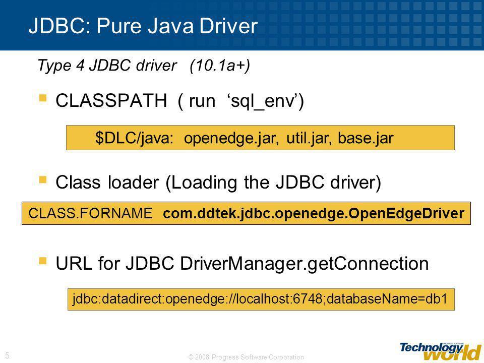 CLASS.FORNAME com.ddtek.jdbc.openedge.OpenEdgeDriver