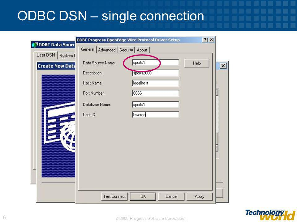 ODBC DSN – single connection