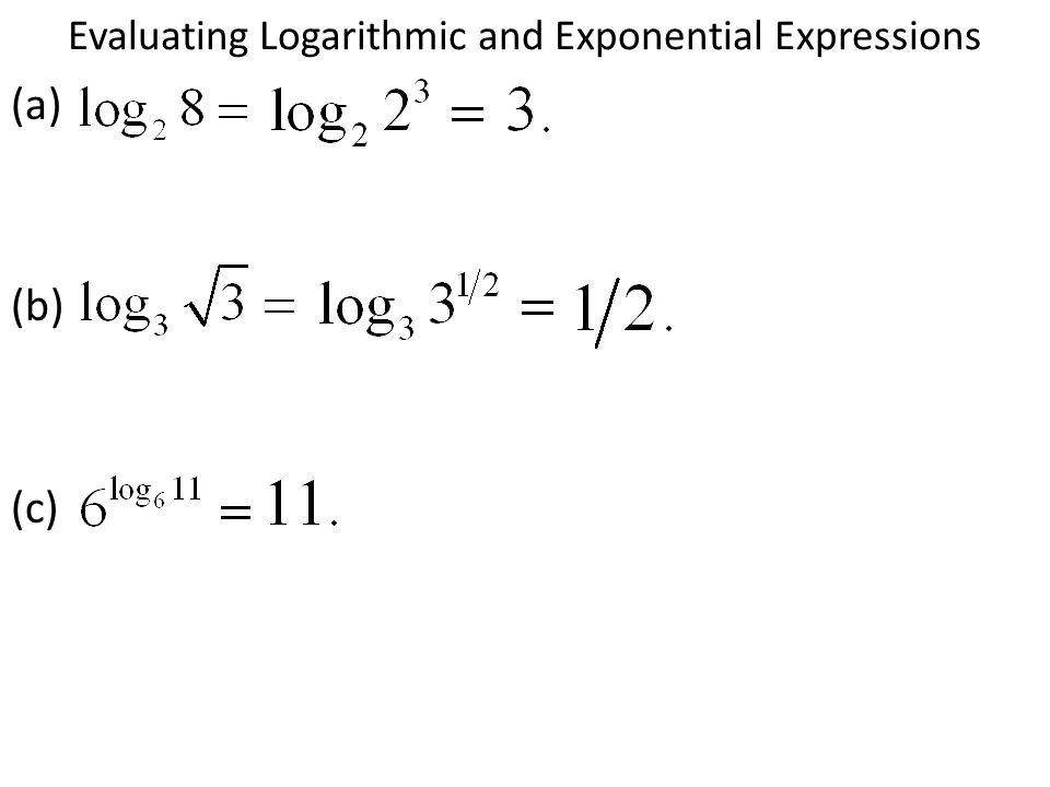 Evaluating Logarithmic and Exponential Expressions