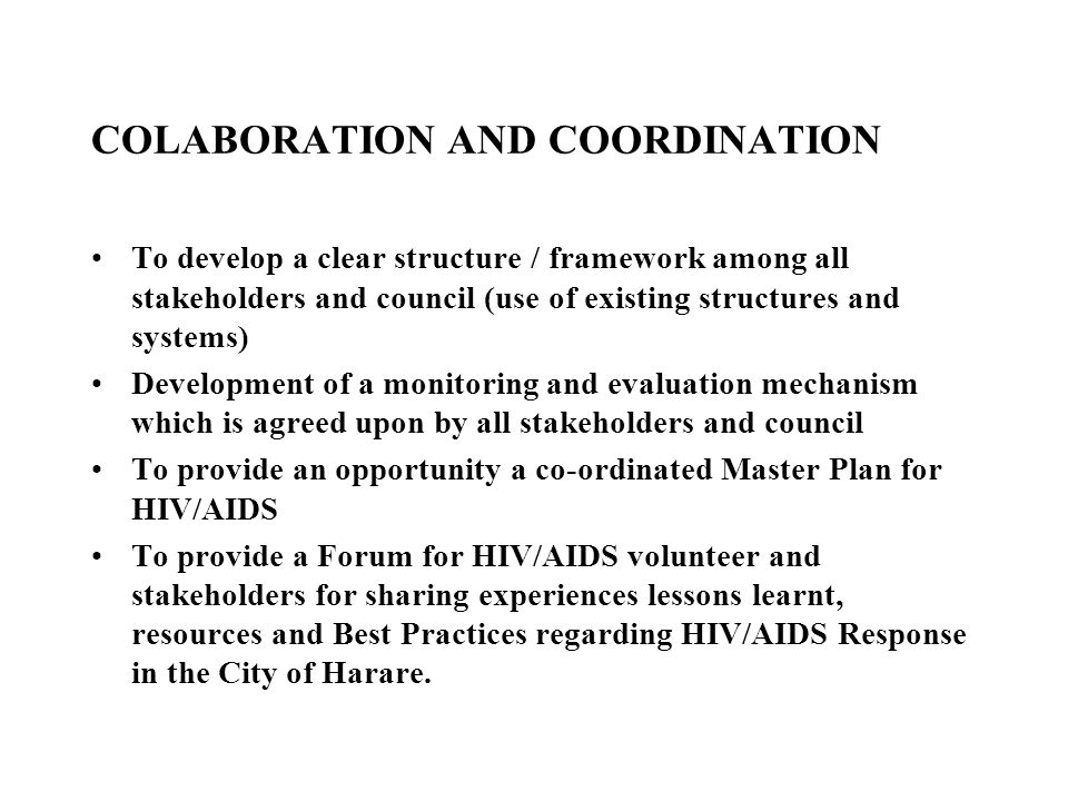COLABORATION AND COORDINATION