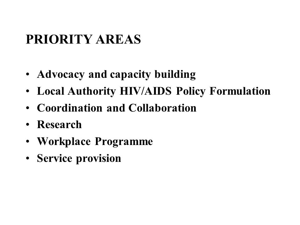 PRIORITY AREAS Advocacy and capacity building