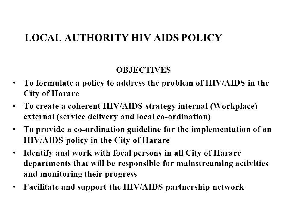 LOCAL AUTHORITY HIV AIDS POLICY