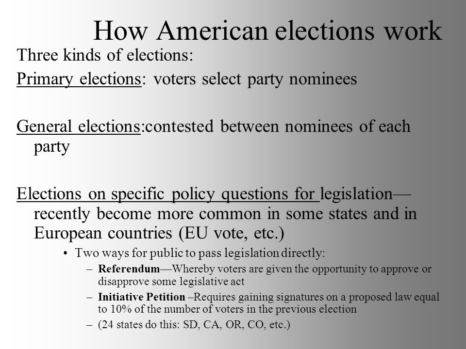 How American elections work