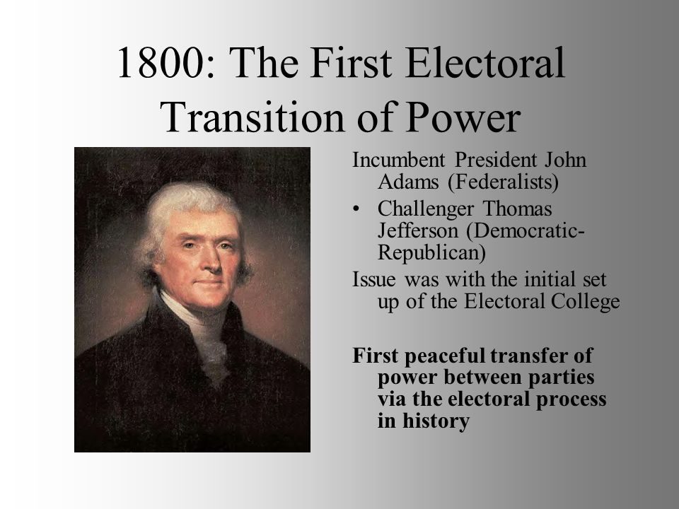 1800: The First Electoral Transition of Power