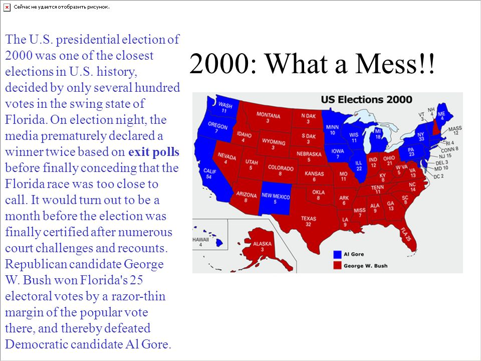 The U.S. presidential election of 2000 was one of the closest elections in U.S. history, decided by only several hundred votes in the swing state of Florida. On election night, the media prematurely declared a winner twice based on exit polls before finally conceding that the Florida race was too close to call. It would turn out to be a month before the election was finally certified after numerous court challenges and recounts. Republican candidate George W. Bush won Florida s 25 electoral votes by a razor-thin margin of the popular vote there, and thereby defeated Democratic candidate Al Gore.
