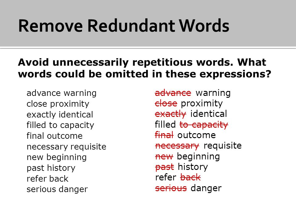 Remove Redundant Words