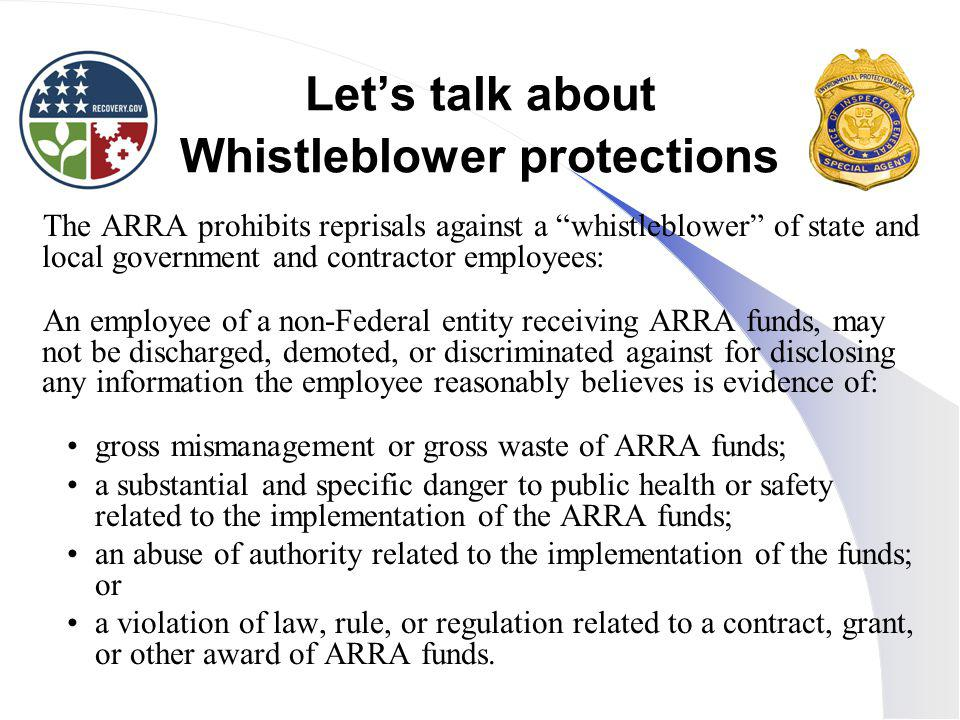 Let's talk about Whistleblower protections