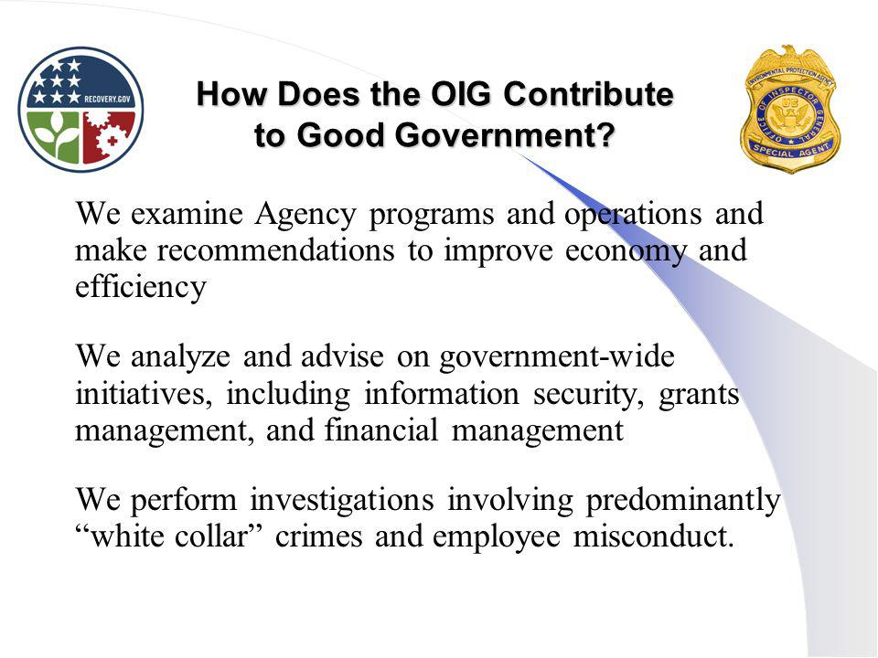 How Does the OIG Contribute to Good Government